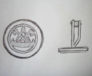 Entwurf Manschettenknöpfe Zunftzeichen Zimmerer Perlmutt