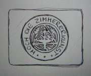 Entwurf Koppelschließe Zimmerer Zunftzeichen rund Gravur
